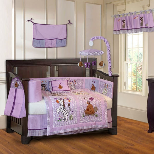BabyFad Jungle Girl 10-piece Girls' Purple Baby Crib Bedding Set with Musical Mobile