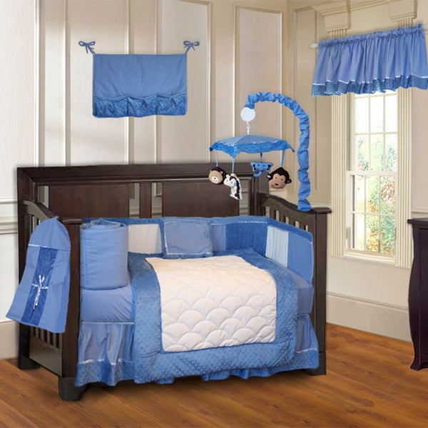 BabyFad Minky Blue 10-piece Boys' Baby Crib Bedding Set with Musical Mobile