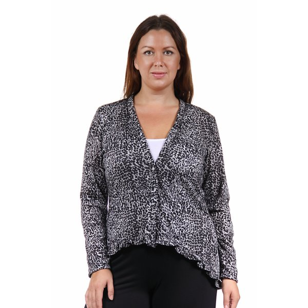 24/7 Comfort Apparel Women's Plus Size Grey Animal Print Long Sleeve Ruffle Shrug