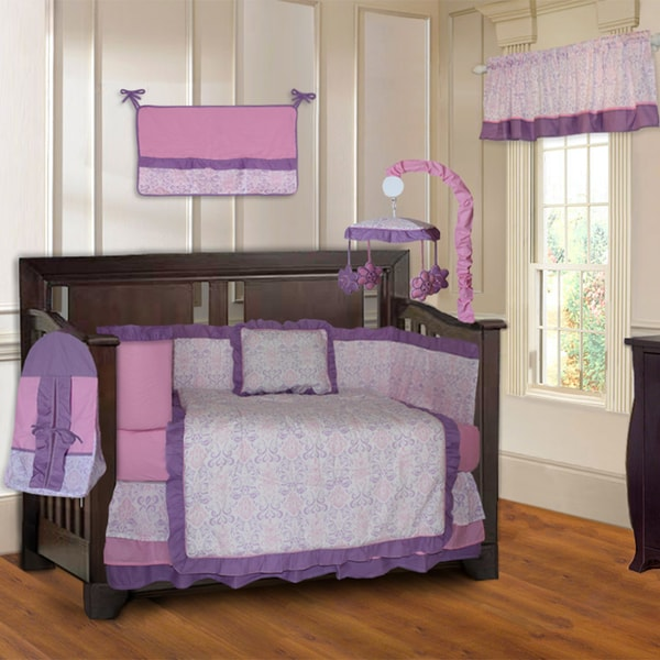 BabyFad Pink and Purple Girls' Damask 10-piece Baby Crib Bedding Set with Musical Mobile