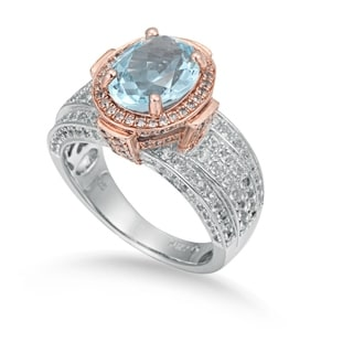 Suzy Levian Two- Tone Sterling Silver 5.56 TCW Blue Topaz Ring