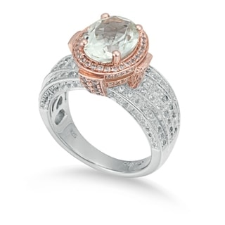 Suzy Levian Two-Tone Sterling Silver 4.73 cttw Green Amethyst Ring
