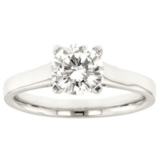 18k White Gold Cubic Zirconia Center and Diamond Accent Semi Mount Engagement Ring