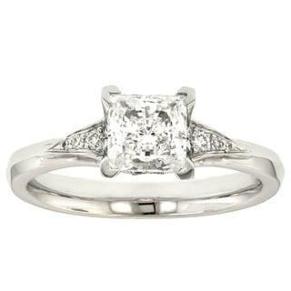 18k White Gold Eorsa MaeVona Cubic Zirconia and Diamond Accent Engagement Ring (G-H, VS1-VS2)