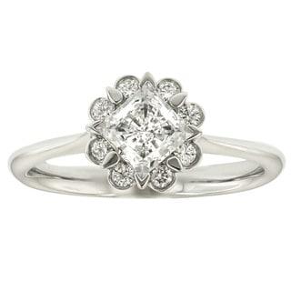MaeVona 18k White Gold Cubic Zirconia and Diamond Accent Ring (G-H, VS1-VS2)