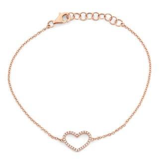 14k Rose Diamond Accent Open Heart Bracelet