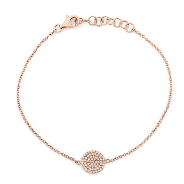 14k Rose Gold 1/5ct Diamond Circle Station Bracelet (G-H, I1-I2)
