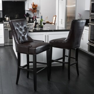 Christopher Knight Home Lyons Bonded Leather Barstool (Set of 2)