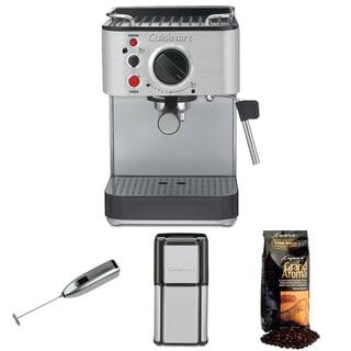 Cuisinart EM-100 15-Bar Espresso Maker + Cuisinart Coffee Grinder + Whole Bean Espresso + Handheld Milk Frother (Refurbished)