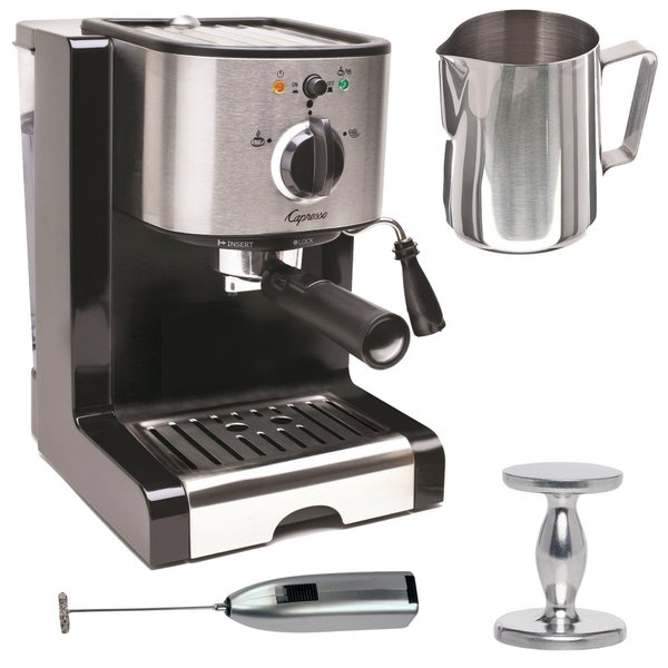 Capresso EC100 Pump Espresso and Cappuccino Machine Bundle + Knox Milk Frother, Frothing Pitcher + Espresso Tamper 16744401