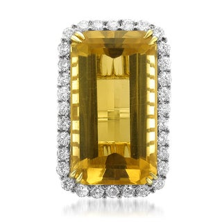 Montebello 18k Gold Natural Citrine and Diamond 31 7/8ct TGW IGI Certified One-of-a-Kind Ring (H-I, I1)