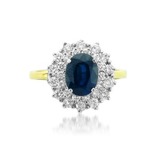 Montebello 18k Gold Natural Sapphire and Diamond 2 1/5ct TGW IGI Certified One-of-a-Kind Ring (H-I, VS2-SI1)