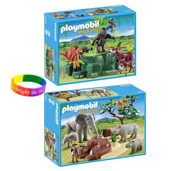 Playmobil Safari Set: Wildlife Gorilla/ Baby Gorilla with Friends/ African Savannah Animals