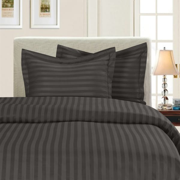 Elegant Comfort Wrinkle Resistant Dobby Stripe 3-Piece Duvet Cover Set (As Is Item)