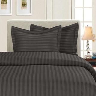 Elegant Comfort Wrinkle Resistant Dobby Stripe 3-Piece Duvet Cover Set