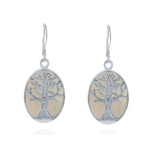 La Preciosa Sterling Silver Mother of Pearl Tree of Life Oval Dangle Earrings