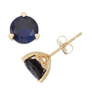 Gioelli 10k Yellow Gold Created Sapphire and Diamond Accent Stud Earrings (H-I, I1-I2)