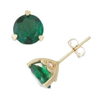 Gioelli 10k Yellow Gold Created Emerald and Diamond Accent Stud Earrings (H-I, I1-I2)