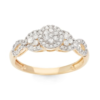David Tutera 10k Yellow Gold 1/2ct TDW Diamond Pave Cluster Ring (H-I, I1-I2)