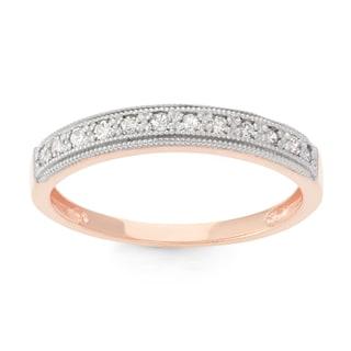 Gioelli 10k Rose Gold 1/5ct TDW Diamond Round Micro Pave Ring (H-I, I1-I2)