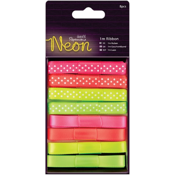 Papermania Neon Ribbon 1m 8/Pkg
