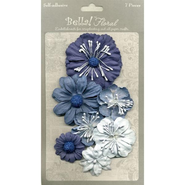 Bella Paper Florals 7/Pkg-Blue