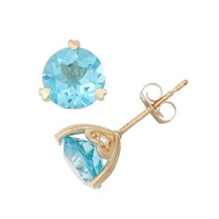Gioelli 10k Yellow Gold Swiss Blue Topaz and Diamond Accent Stud Earrings (H-I, I1-I2)