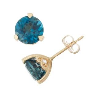 Gioelli 10k Yellow Gold London Blue Topaz Diamond Accent Stud Earrings (H-I, I1-I2)
