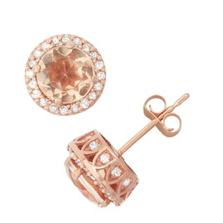 David Tutera 10k Rose Gold Morganite, Quartz and 1/3ct TDW Diamond Halo Stud Earrings (H-I, I1-I2)