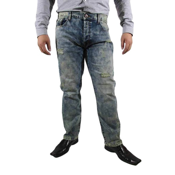 The United Freedom MEN'S ACID WASH RIP AND TEAR JEAN, SLIM FIT