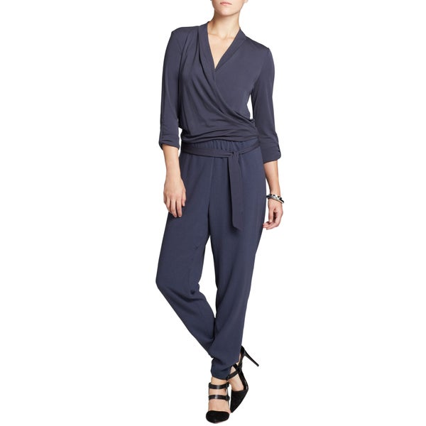 Elie Tahari Woman's Gally Gray Crepe Jumpsuit