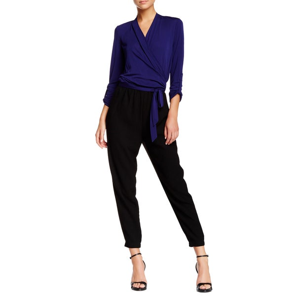 Elie Tahari Gally Blue Black Colorblock Jumpsuit