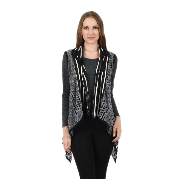 Firmiana Women's Sleeveless Black and Grey Crochet Vest