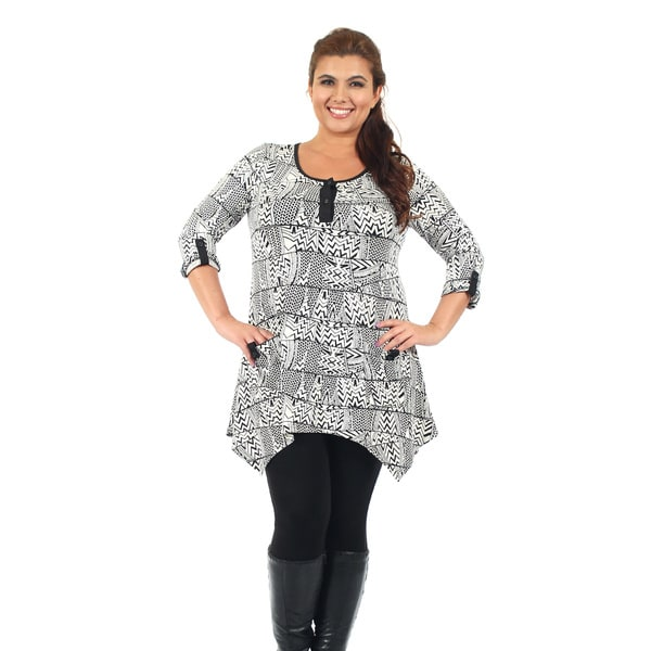 Firmiana Women's Plus 3/4 Sleeve Black & White Geometric Pocket Tunic