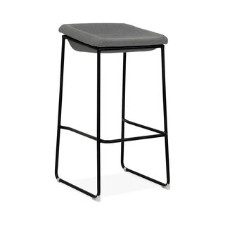 Modello Black Modern Barstool with Grey Fabric Padded Seat (Set of 2)