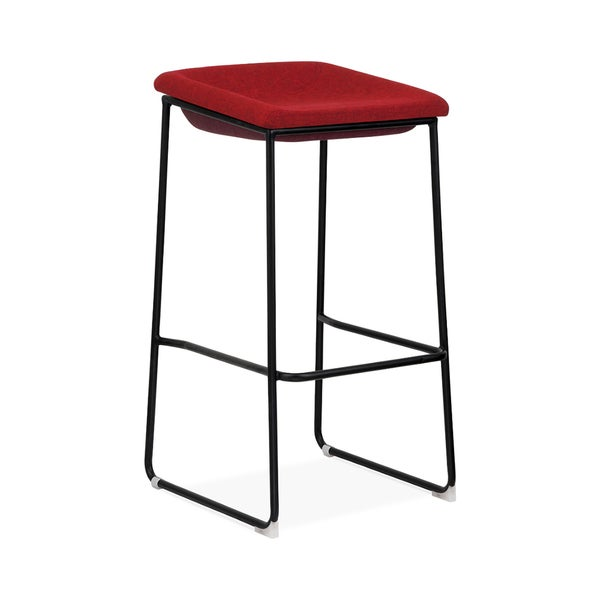 Modello Black Modern Barstool with Red Fabric Padded Seat