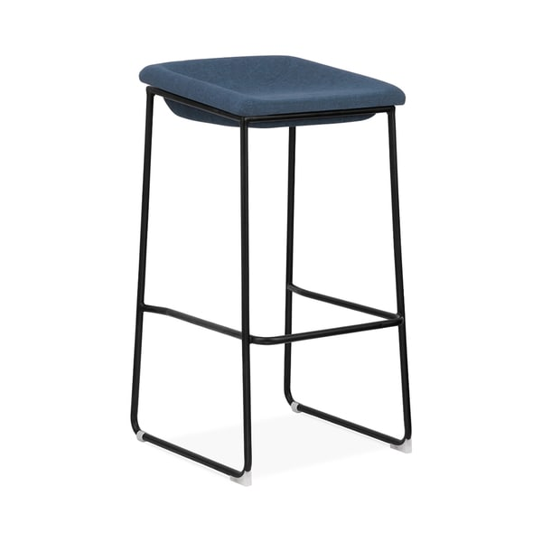 Modello Black Modern Barstool with Blue Fabric Padded Seat