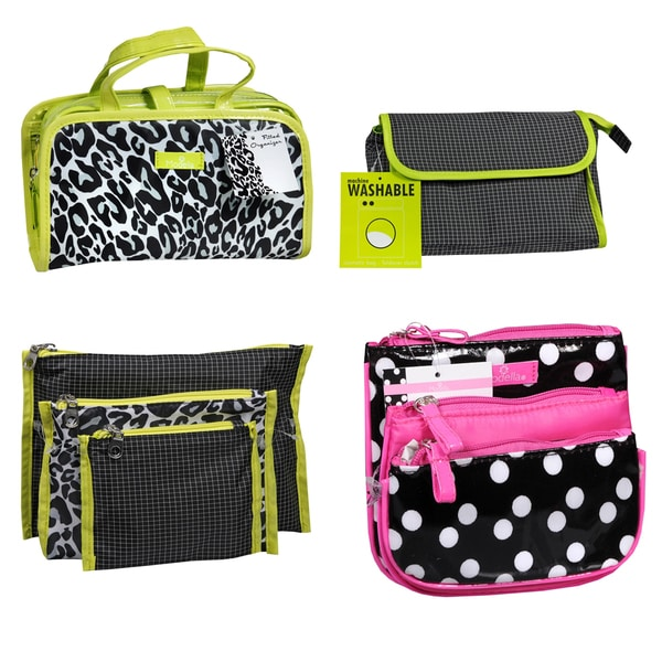 Allegro Foldover Clutch Cosmetic Bag, Fitted Organizer, Zip Organizer and Purse Kit
