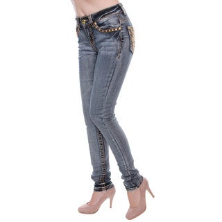 Sexy Couture Women's Denim Mid-Rise Rhinestone Skinny Jeans