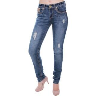 Sexy Couture Women's Dark Distress Rhinestone Skinny Jeans