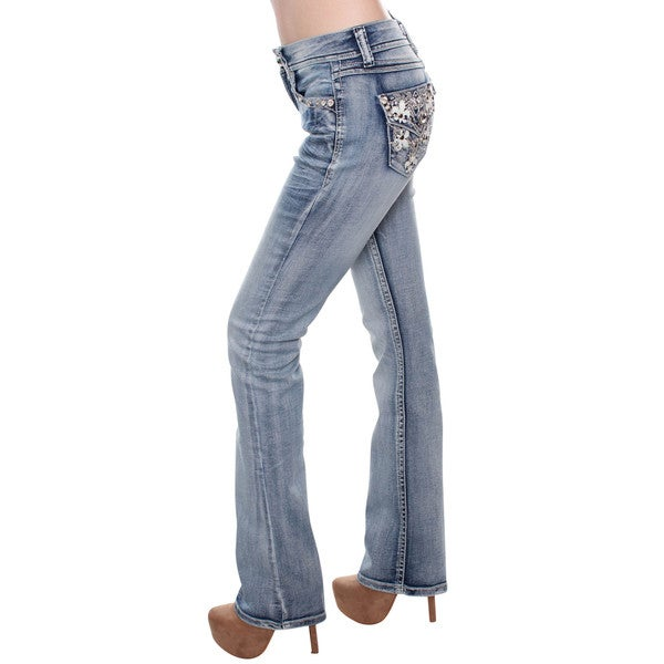 Sexy Couture Women's S148-PB Light Wash Denim Mid-Rise Rhinestone Bootcut Jeans