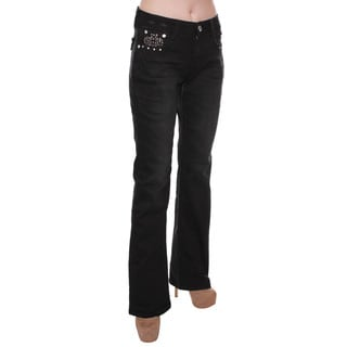 Sexy Couture Women's Dark Denim Mid-Rise Rhinestone Bootcut Jeans