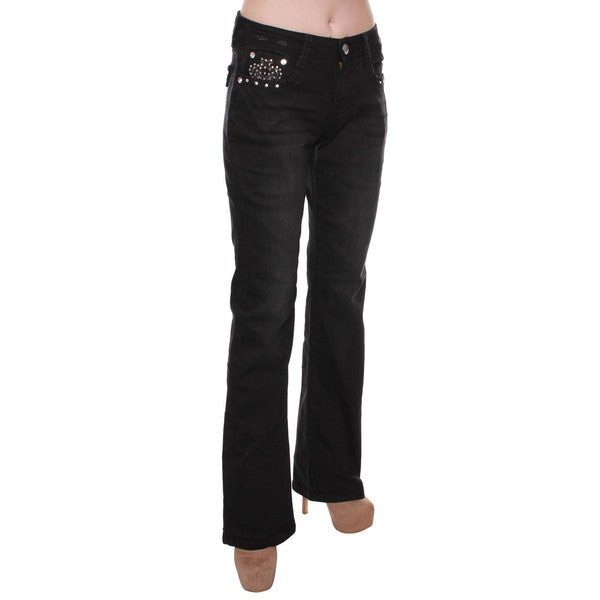 Sexy Couture Women's Dark Denim Mid-Rise Rhinestone Bootcut Jeans