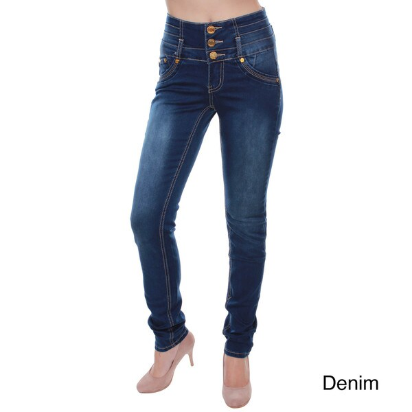 Sexy Couture Women's S2122-PS Dark Denim High-Rise Button Closure Skinny Jeans
