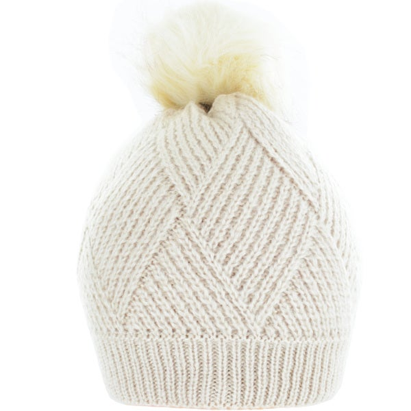 Kate Marie Cable-Knit Pom Pom Beanie