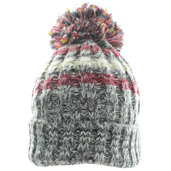Kate Marie Cable-Knit White Faux Fur Lining Pom Pom Beanie