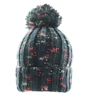 Kate Marie Contrast Color Cable-Knit Pom Pom Beanie