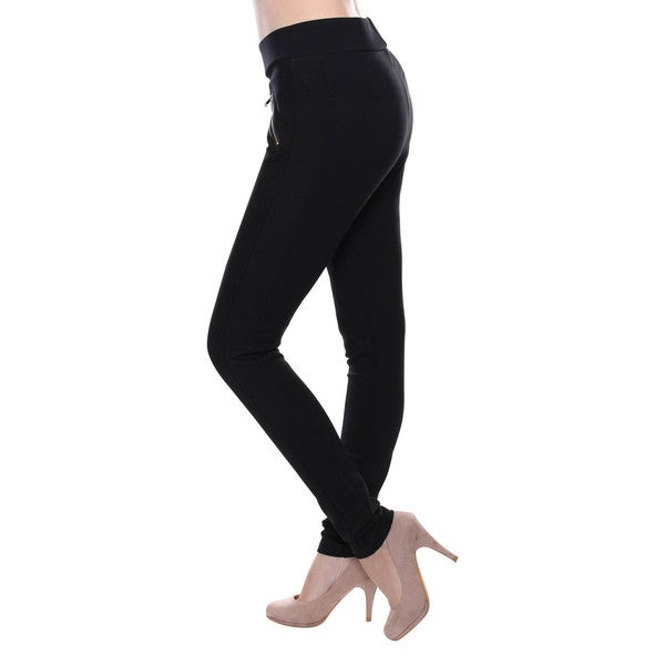 Women's Black Skinny Pants With Front Decorative Zippers
