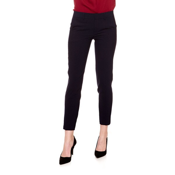 Women's Wool Blend Strapping Pant Tailored Trouser