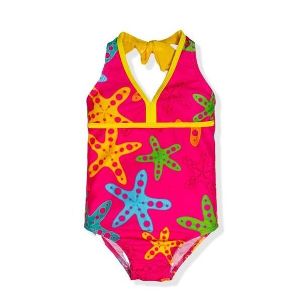 Jump'N Splash Small Girls' Rainbow Starfish One-Piece Swimsuit